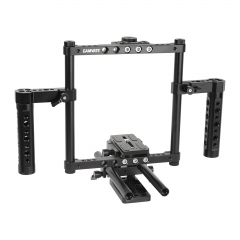 CAMVATE Hand-held Cage Kit With Quick Release Manfrotto Baseplate & Adjustable 15mm Dual Rod Support For DSLRs With Battery Grip