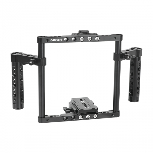 CAMVATE Hand-held Cage Kit With Quick Release Manfrotto Baseplate & Aluminum Cheese Handle Grips For Large / Medium DSLRs With Battery Grip