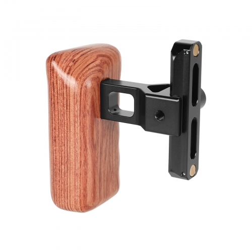 CAMVATE Quality Wooden Handgrip (Left Side) With Quick Release NATO Clamp And 70mm NATO Safety Rail