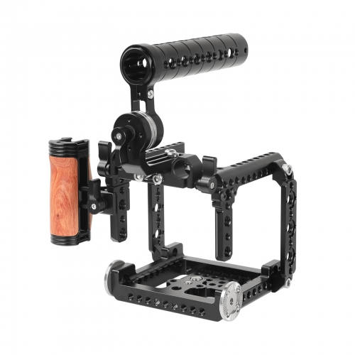 CAMVATE Exclusive Cage Kit With ARRI Rosette Top Handle And NATO Rails And Wooden Side Handgrip For RED Komodo 6K Cinema Camera