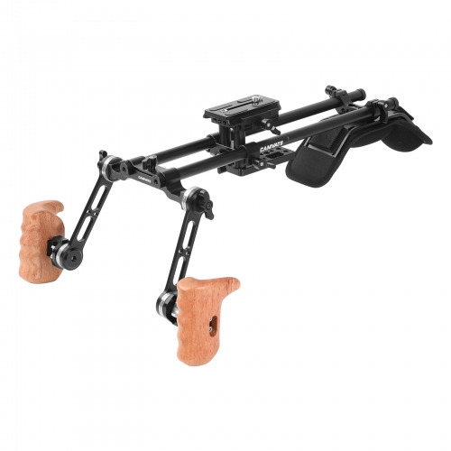 CAMVATE Pro Shoulder Mount Rig With Manfrotto Quick Release Baseplate & Adjustable Rosette Wooden Handgrip For DSLR Camera & DV Camcorder