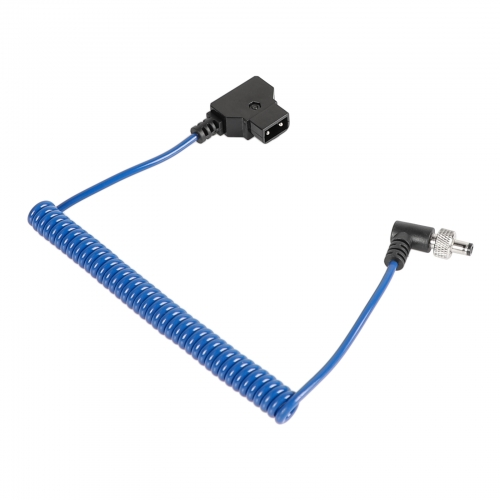 CAMVATE Universal Monitor Power Supply Coiled Cable D Tap To DC 2.5mm Right Angle With Lock (Blue)