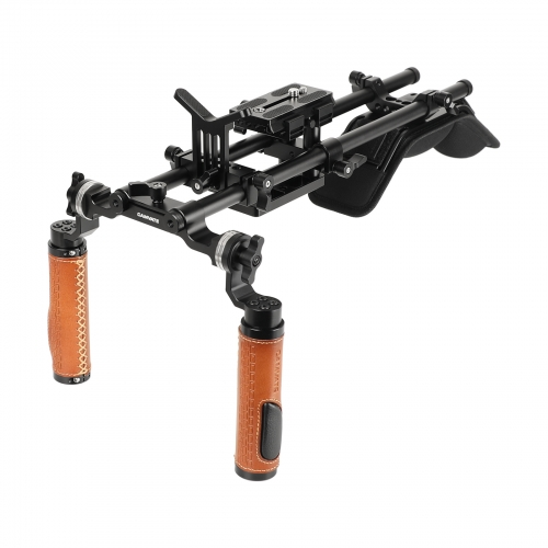 CAMVATE Shoulder Mount Handheld Rig With Manfrotto Quick Release Baseplate & Adjustable Arri Rosette Leather Handgrip