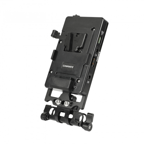 CAMVATE Quick Release V Mount Power Splitter Battery Plate With 360 Degree Rotating 15mm Rail Blocks