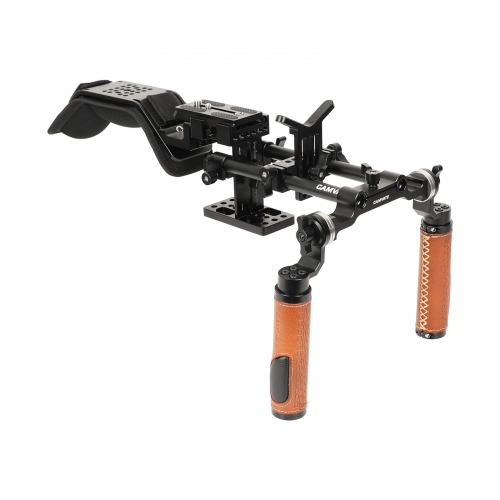 CAMVATE Handheld Shoulder-support Mount Rig With Manfrotto Quick Release Baseplate & Adjustable Arri Rosette Leather Handgrip