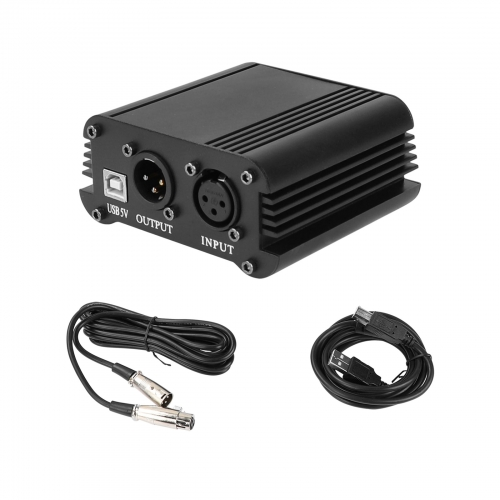 CAMVATE 48V Phantom Power Supply With USB Cable Adapter And 3 Pin Microphone Cable For Music / Audio Recording Equipment