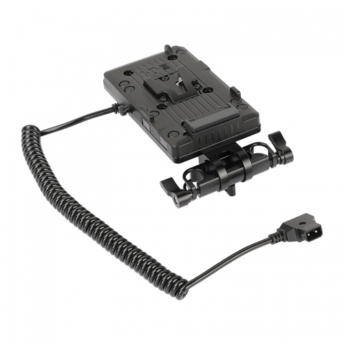 CAMVATE IDX P-V2 Quick Release V Mount Camera Plate With Power Splitter Outlet Cable & Rotatable 15mm Rail Blocks