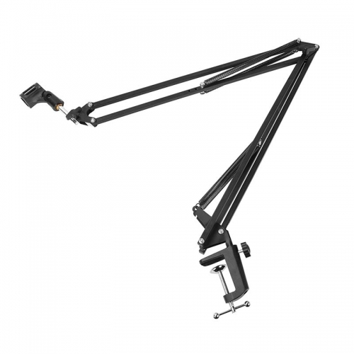 CAMVATE Professional Microphone Stand Boom Arm Suspension Scissor Arm Stand With Mounting C Clamp Base