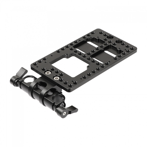 CAMVATE Aluminum Back Plate With 360 Degree Rotating 15mm Rail Blocks Clamp For IDX P-V2 Quick Release V Mount Camera Plate