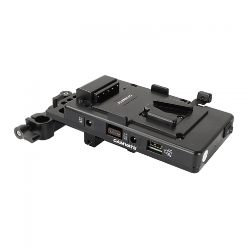 CAMVATE Quick Release V Lock Plate Power Splitter Adapter With Back Plate And 15mm Railblocks
