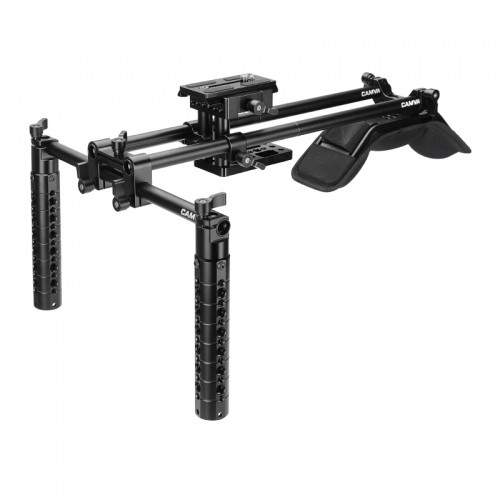CAMVATE Handheld Shoulder Mount Rig With Manfrotto Quick Release Camera Plate & Tripod Baseplate & Cheese Handgrip Pair