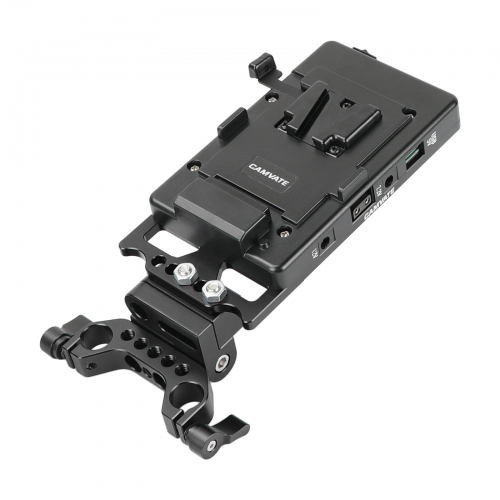 CAMVATE Quick Release V Mount Power Splitter Adapter With 90° Flip-open Adjustment And Rotating 15mm Rail Block